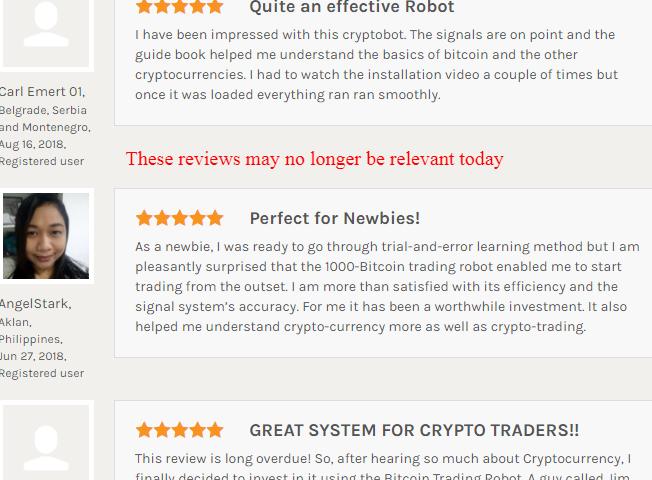 1000 Bitcoin Trading Robot reviews