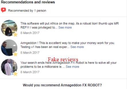Armageddon FX ROBOT fake reviews